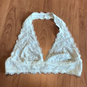 Free People White Halter Bralette